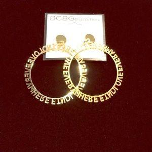 NWT BCBG gold hoop earrings